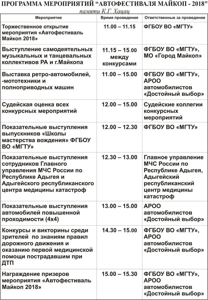 Programma Avtofestivalya 2018